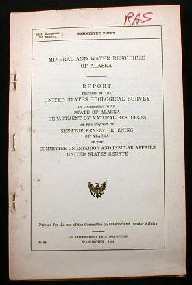 Image for Mineral and Water Resources of Alaska