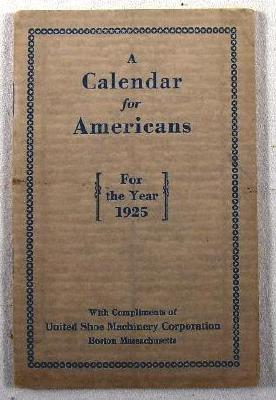Image for A Calendar for Americans.  A Calendar for the Year 1925