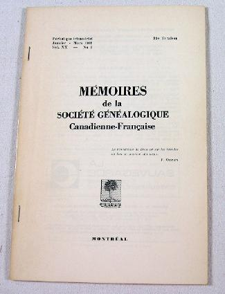 Image for Memoires De La Societe Genealogique Canadienne-Francaise.  Vol. XX, No. 1 - Janvier-Mars 1969