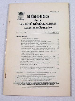 Image for Memoires De La Societe Genealogique Canadienne-Francaise.  Vol. XX, No. 4 - Oct.-Dec. 1969