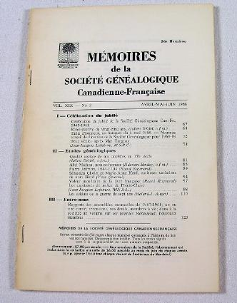 Image for Memoires De La Societe Genealogique Canadienne-Francaise.  Vol. XIX, No. 2 - Avril-Juin 1968