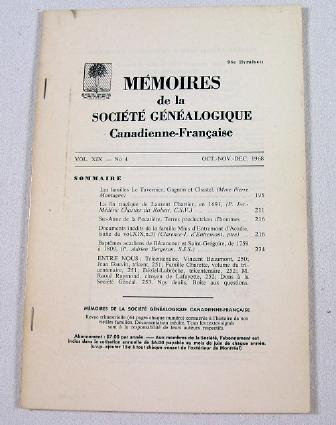 Image for Memoires De La Societe Genealogique Canadienne-Francaise.  Vol. XIX, No. 4 - Oct.-Dec. 1968