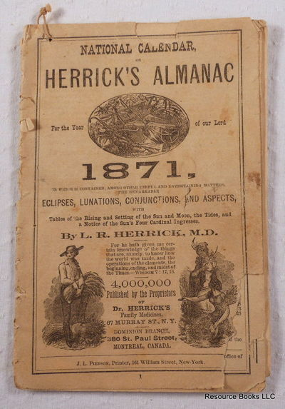 Image for National Calendar, or Herrick's Almanac for the Year of Our Lord 1871