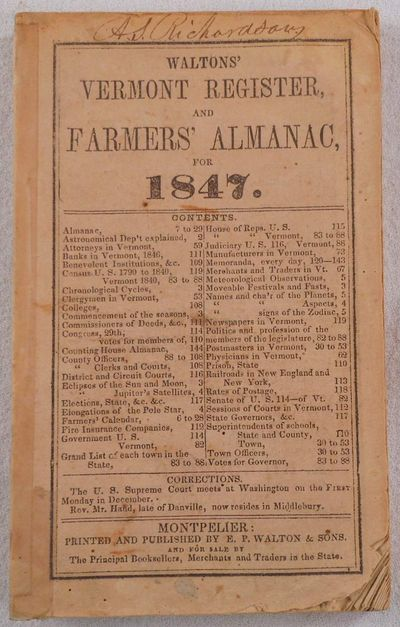 Image for Waltons' Vermont Register and Farmers' Almanac for 1847